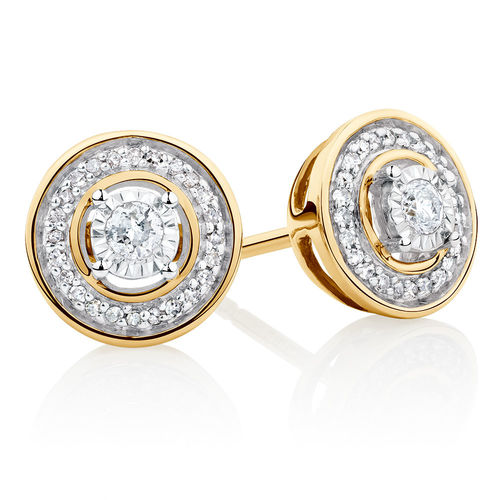 Bargain - $299 (was $699) - Stud Earrings with 0.15 Carat TW of Diamonds in 10ct Yellow Gold & Sterling Silver @ Michael Hill